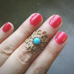 Turquoise Gemstone Filigree Midi Ring Adjustable